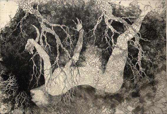 「絞め殺しの木」2010年/銅版画(エッチング、雁皮刷り)/640 x 930 mm