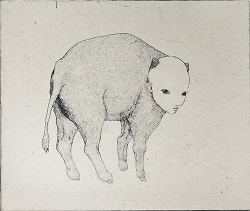 「生まれたての」2019年/銅版画(エッチング、雁皮刷り)/120×142 mm