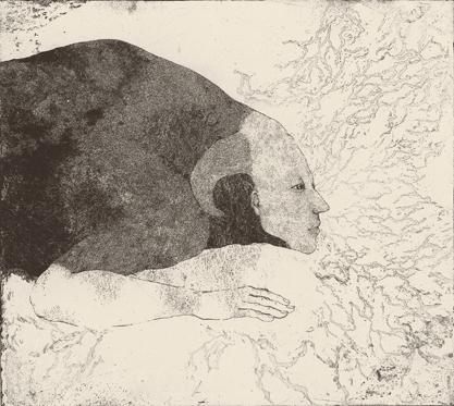 「私は嘘をつかない」2013年/銅版画(エッチング、雁皮刷り)/450 x 500 mm
