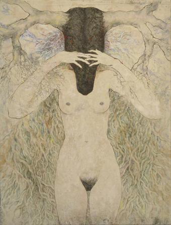 「目隠し」2013年/パネルに和紙、銅版、水彩/360 x 273 mm