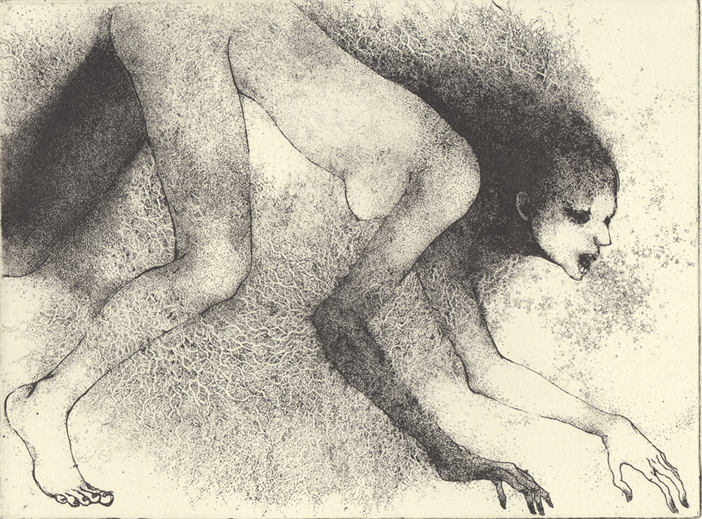 「歩く」2017年/銅版画(エッチング)/145x195mm