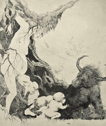 「生まれ出づることは」2008年/銅版画(エッチング、雁皮刷り)/800 x 670 mm