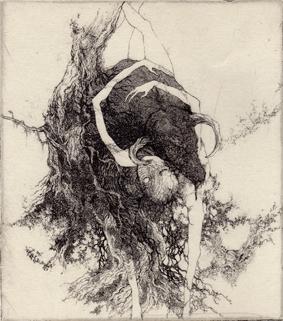 「経験の本性」2010年/銅版画(エッチング、雁皮刷り)/135x120mm