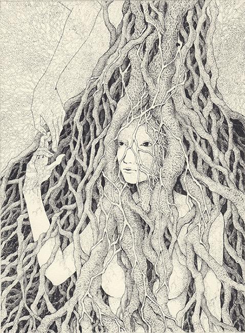 「私は樹の下で」2020年/銅版画(エッチング)/201x149mm