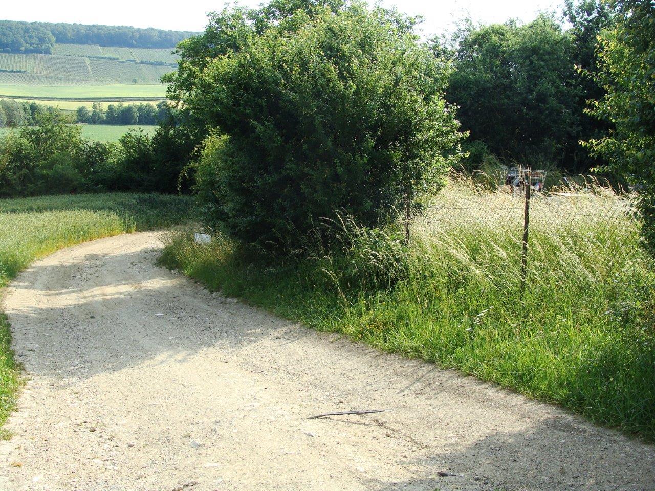 Le chemin du Bouvier longe une partie de la déchèterie de Condé-en-Brie, de la RD4 jusqu'à la voie ferrée 22².