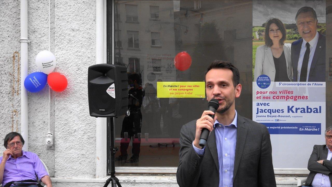 Sébastien Eugène, adjoint au maire de Château-Thierry en charge des Finances, est le directeur de campagne de Jacques Krabal.