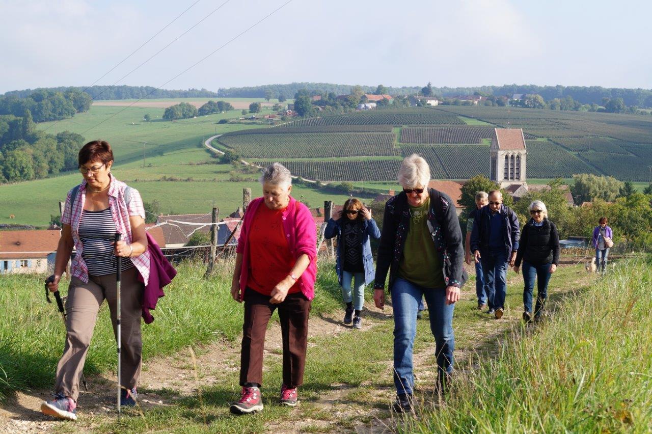 A gauche, la maire déléguée odonienne Jacqueline Picart emmène la troupe de marcheurs à la découverte du territoire.