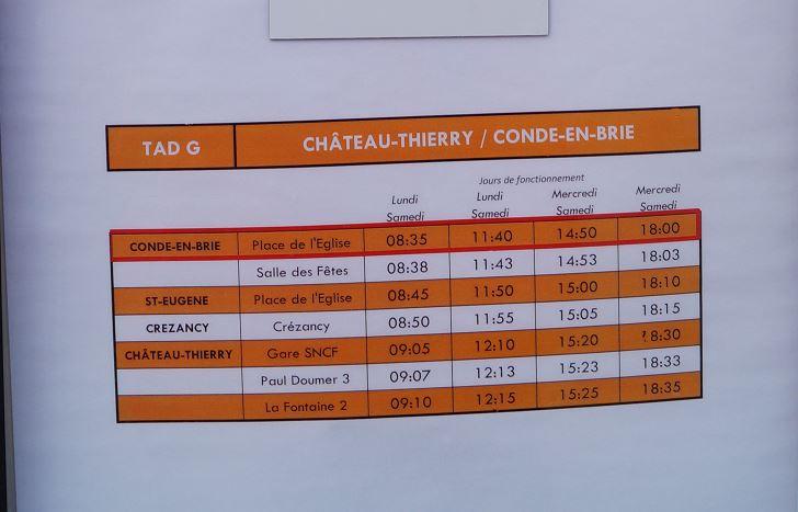 Les horaires en vigueur sur la ligne TAD G Château-Thierry / Condé-en-Brie.