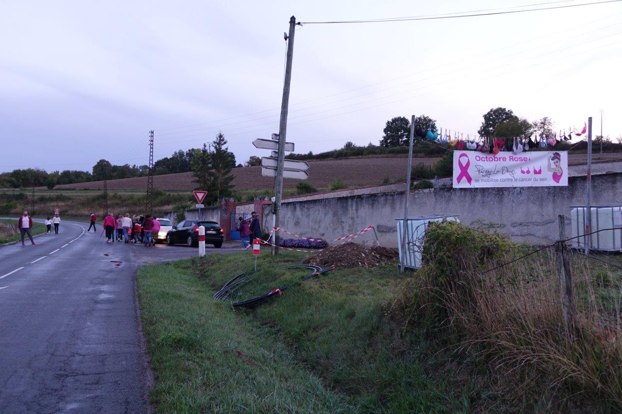 La guirlande de soutiens-gorge et la banderole réalisée par l'enseigne Alpha'Désif de Brasles annoncant la mobilsation de la commune, sont situées en bordure de la RD 20, en direction d'Artonges.