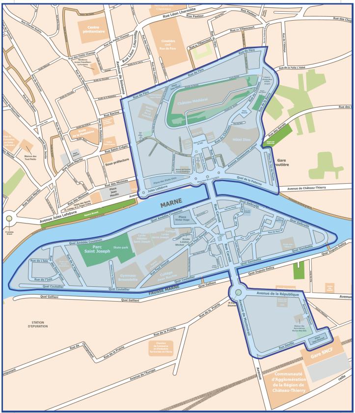 Château-Thierry : Le périmètre concerné par le port du masque obligatoire.