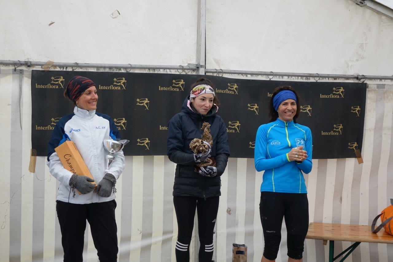 Le podium du Trail des Coqs 2020 chez les femmes.