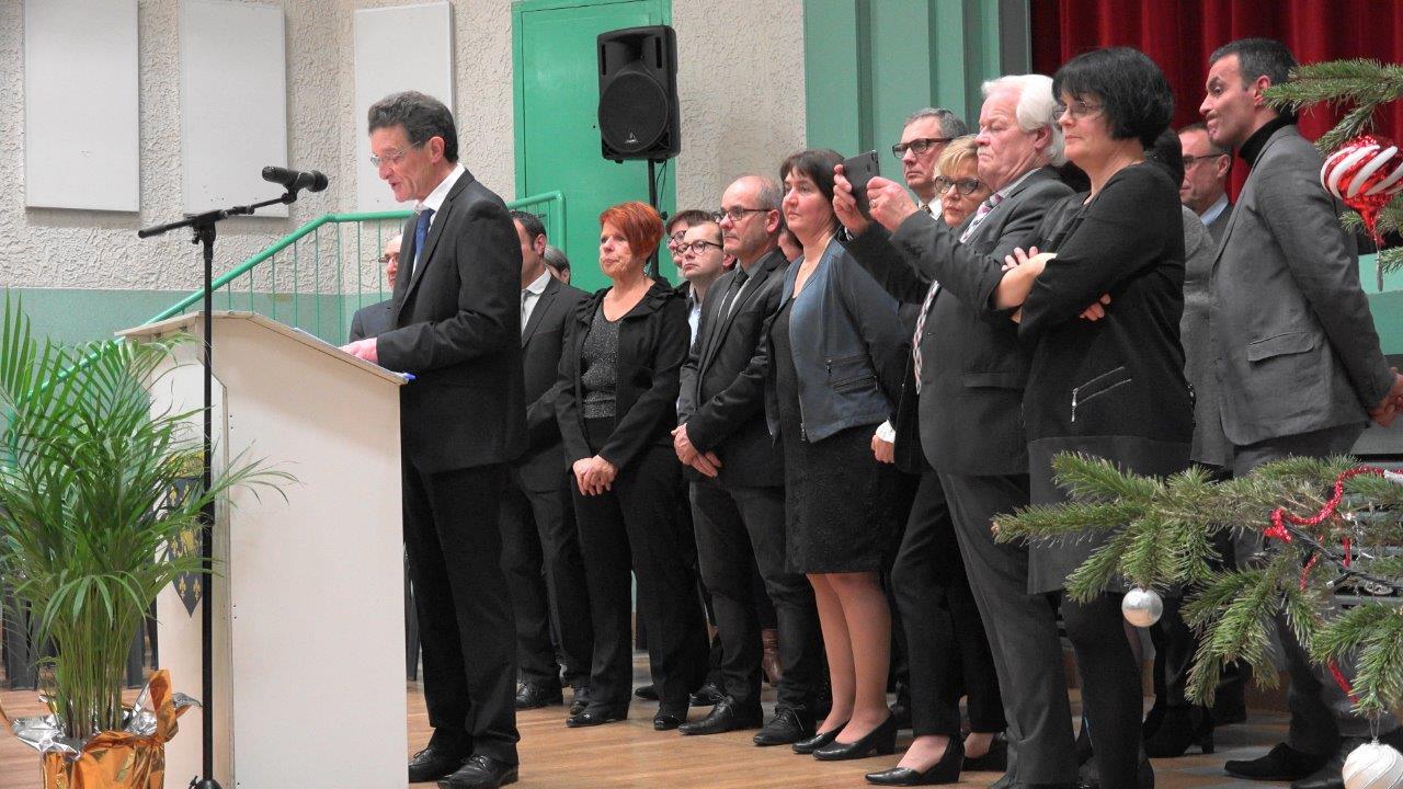 Cérémonie 2018 des voeux de Michel Courteaux, maire de Dormans, à la salle des fêtes...
