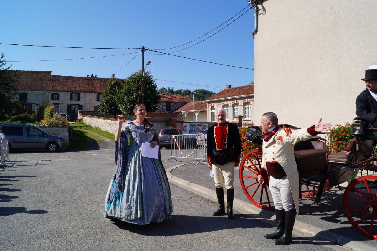 De gauche à droite : l'impératrice Eugénie, Napoléon III et M. Rastagnac, préfet de la Marne.
