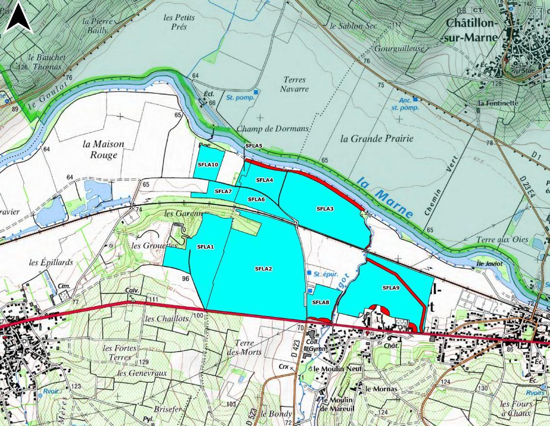 Le plan d'épandage des fientes sur les communes de Troissy et Mareuil-le-Port dans la Marne.
