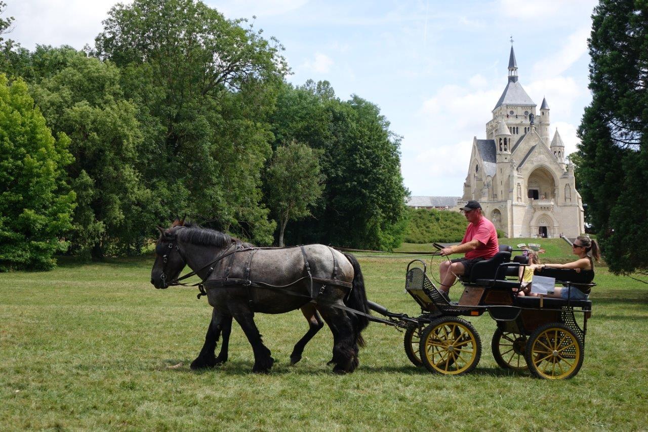 Le public pouvait effectuer des balades en calèche dans les allées du parc du château.