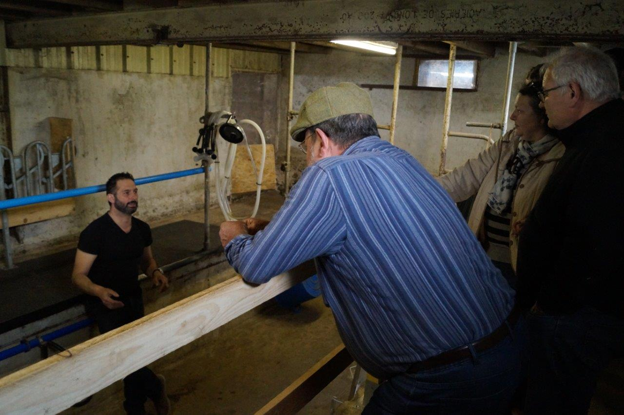 Dans la salle de traite, David Toussirot explique que la traite des chèvres a lieu une seule fois par jour, dès 5 heures du matin.