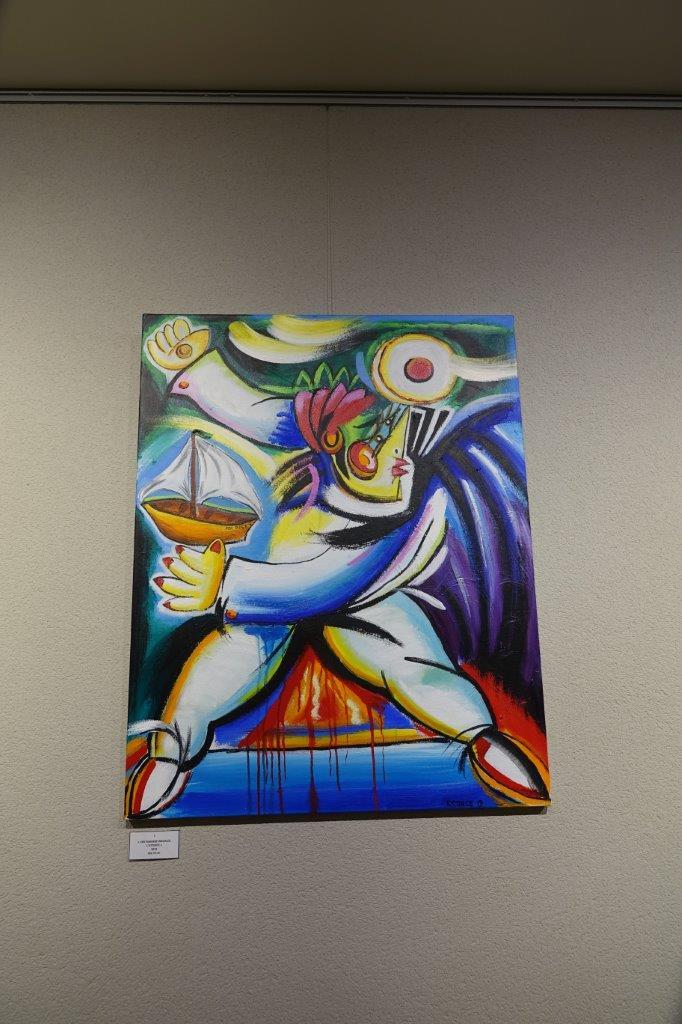 ...et peintures vives caractérisent cette exposition.