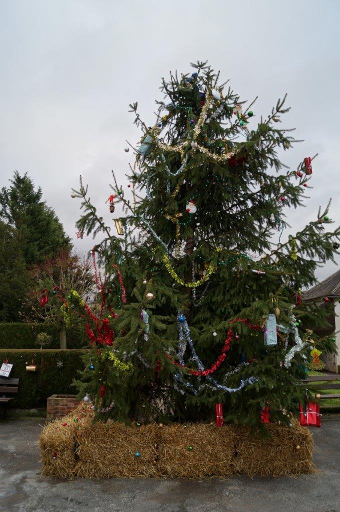 """Cette année, des petits ballots de paille """"camouflaient"""" le pied en béton. Il avait de la gueule, le sapin de Noël !"""