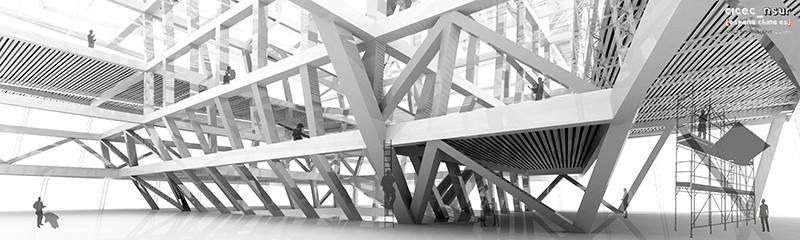 Render Detalle Estructura. PFC Carlos Martínez Pérez