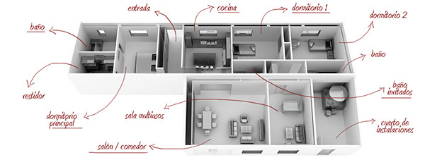 Render Arquitectura. Propuesta vivienda. Madrid