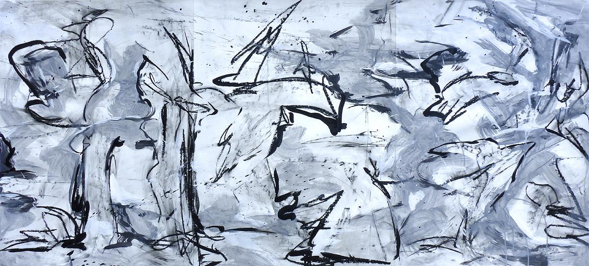 """abstrakte Komposition """"Grenzaufhebung"""", Mischtechnik (Acryl, Kohle, Kreide) auf Papier, ca. 76 x 174"""