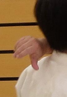 ⑧母指先の反りに合わせて陽の陰へ 前腕撓側から伸側が側頸に結ぶ