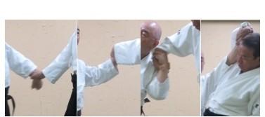 画像⑧左半身で下段に与えて外転換外巡り肘を落として母指を伸展しつつ降氣の形で回内して受けの手首を包み陽の陰で母指球を突き出して四教