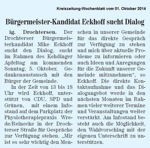 Neue Stader Wochenblatt vom 01. Oktober 2014