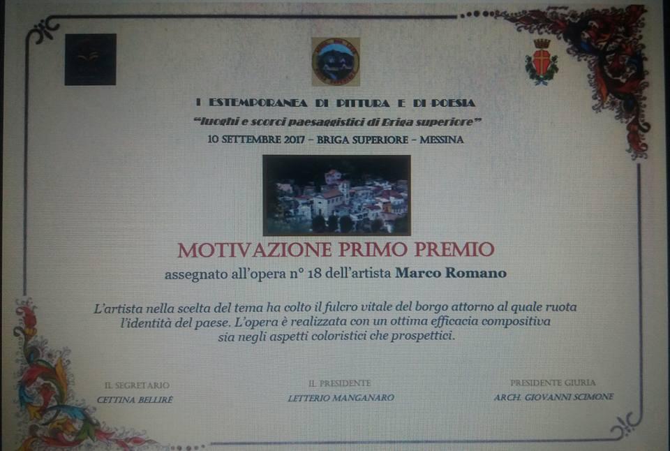 Attestato Motivazione Premio all'artista Marco Romano