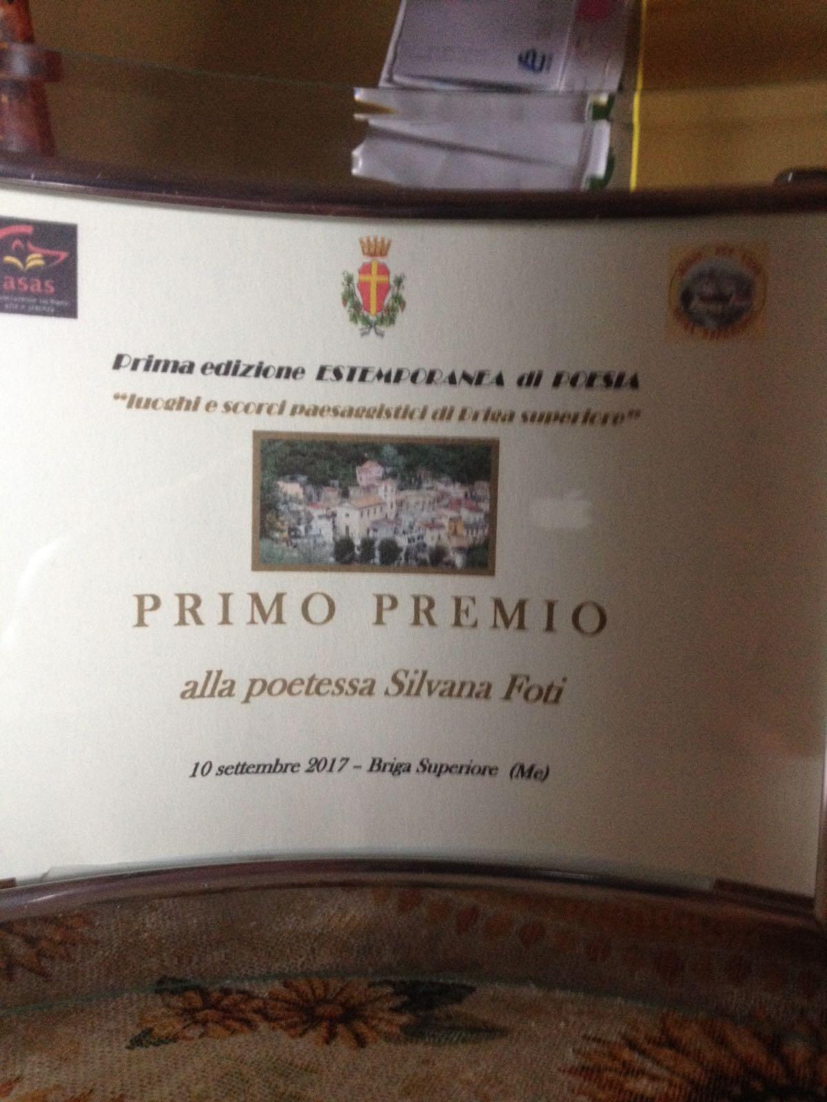 Targa Primo Premio Poesia a Silvana Foti