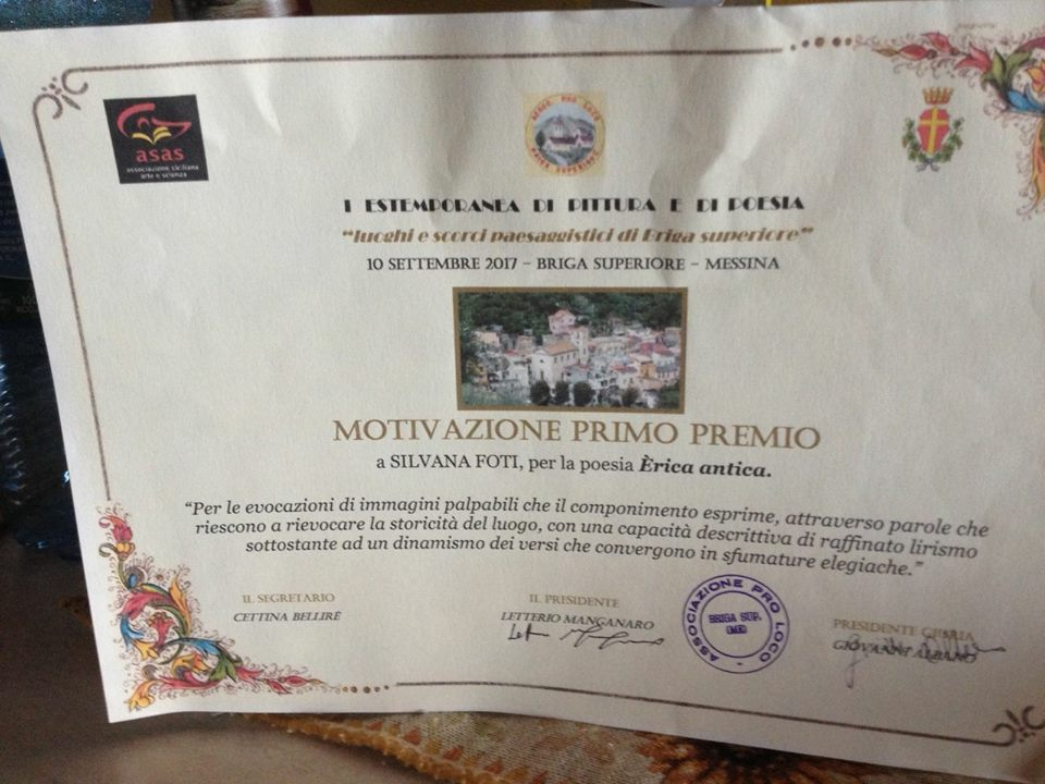 Attestato Motivazione Premio alla poetessa Silvana Foti
