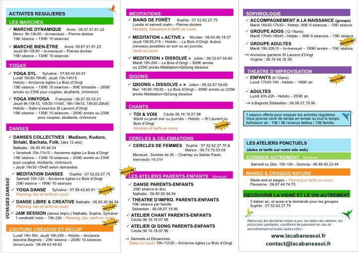 Activités & ateliers saison 2021-22 (mise à jour)