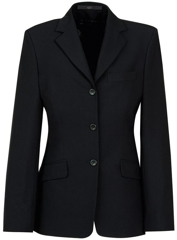 Damen-Blazer - 3-Knopf - leicht tailliert - 2 Pattentaschen - 1 Reißverschlußtasche innen  - Farbe: schwarz