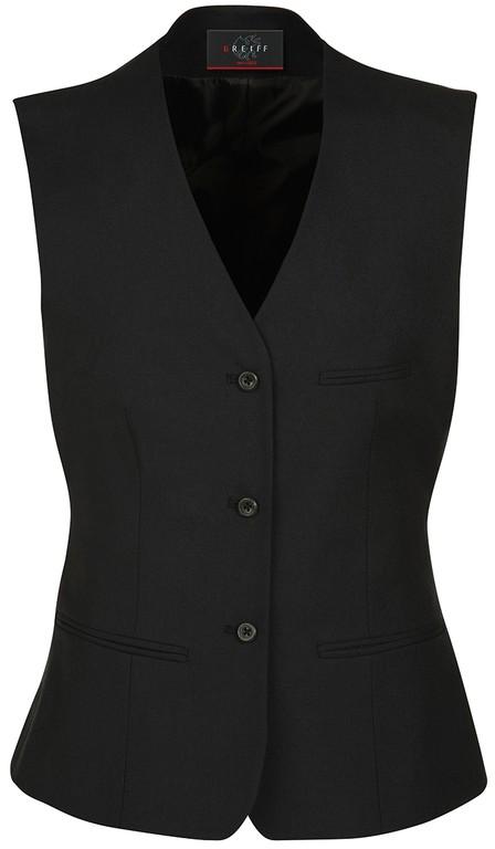 Damen-Weste - 3-Knopf - Stoffrücken - 2 Paspeltaschen - 1 Brusttasche - 1 Futter-Innentasche - Farbe: schwarz