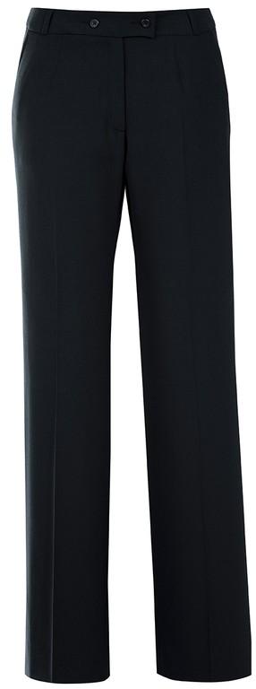 Damen-Hose - Schrittlänge 82 cm - ohne Bundfalten - 2 Schubtaschen- Kartentasche - Gürtelschlaufen - Vorderhosenfutter - Farbe: schwarz