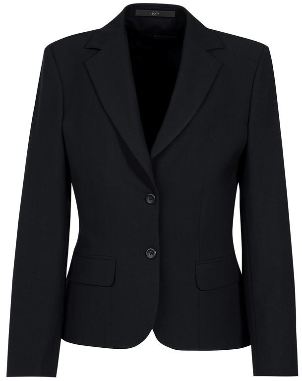Damen-Blazer - 2-Knopf - leicht tailliert - 2 Pattentaschen - 1 Reißverschlußtasche innen  - Farbe: schwarz
