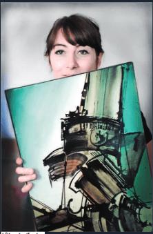 Florence Guillemin avec une oeuvre de Bertini, photo de Gilles Delbos