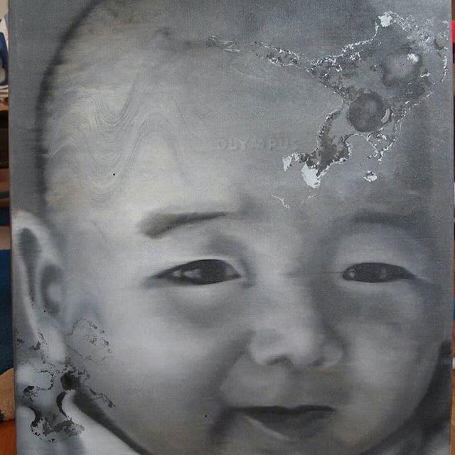 Détail, acrylique sur toile de TianBing Li après rentoilage