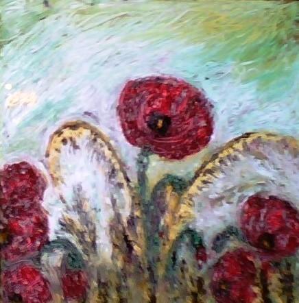 PAPAVERI E AVENA - 2010 olio su tela 30 x 30