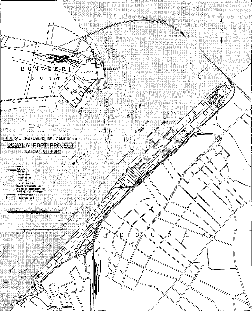 Maquette du projet d'aménagement du Port de Douala-Bonaberi 1970