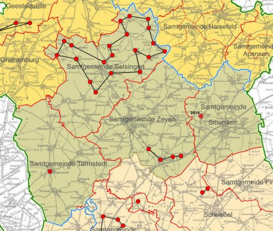 Dorferneuerungen im REM Börde Oste-Wörpe (Quelle: GLL Verden, Verfahrensübersicht)