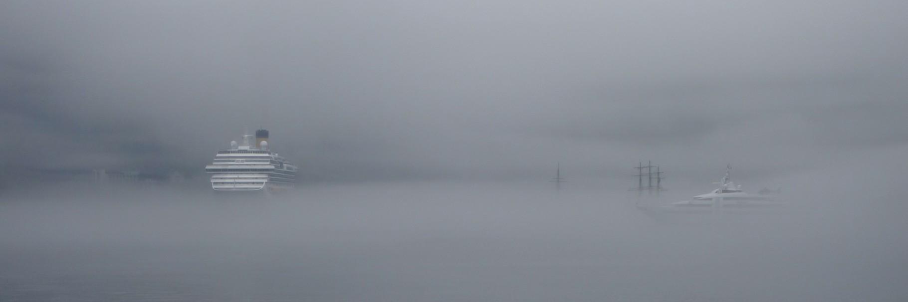 im Geirangerfjord dann ein Scenario, wie im fliegenden Holländer