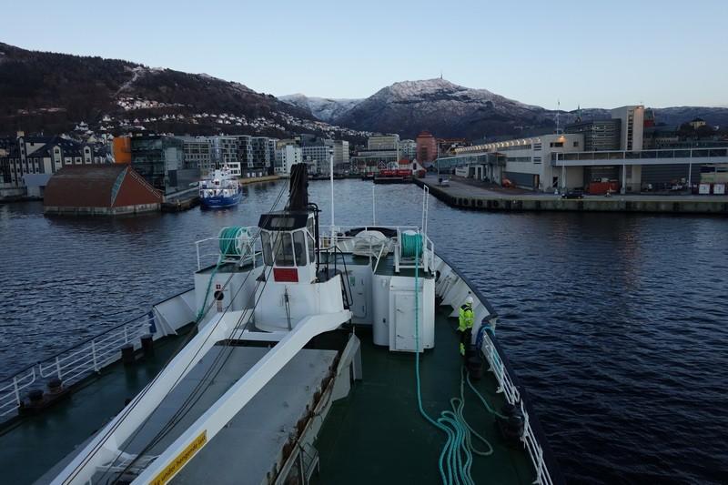 die Einfahrt in den Hafen von Bergen und damit dem Ende der Reise