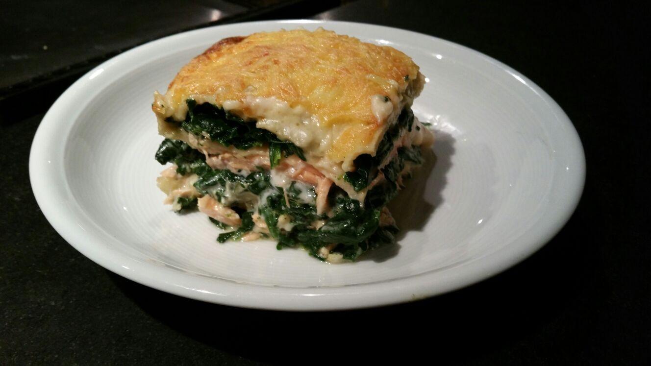 Spinazie zalm lasagne
