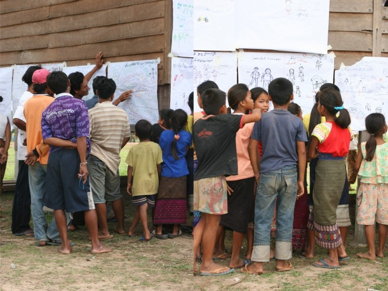 Picture 9: Gallery walks conducted in Lao PDR to involve villagers in assessment data analysis