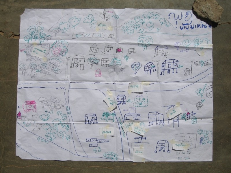 Picture 13: Social map produced by women of Nahoulay village, Thapangthong district, Lao PDR (2007)