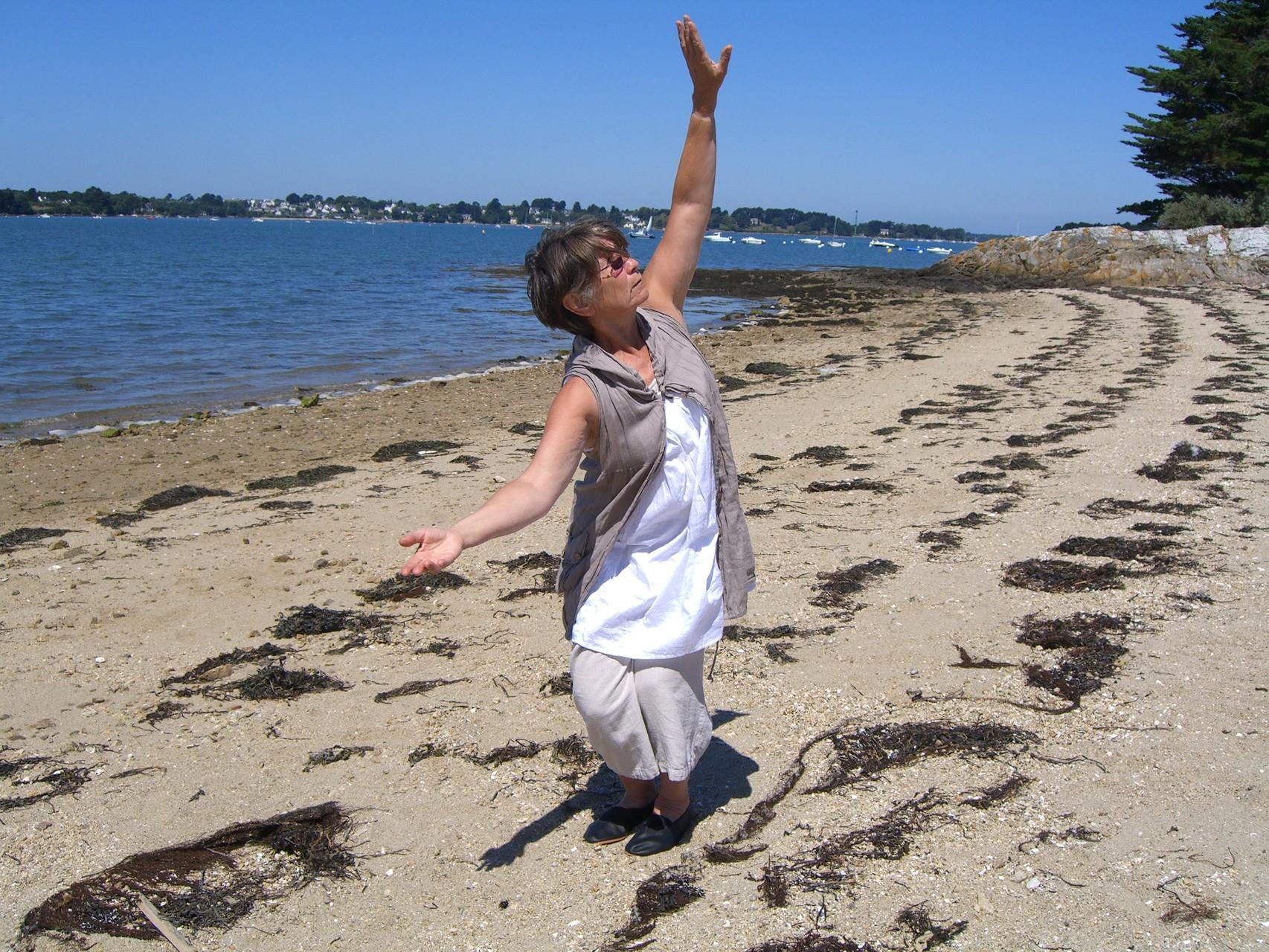 Pascale David sur la plage du Mounien