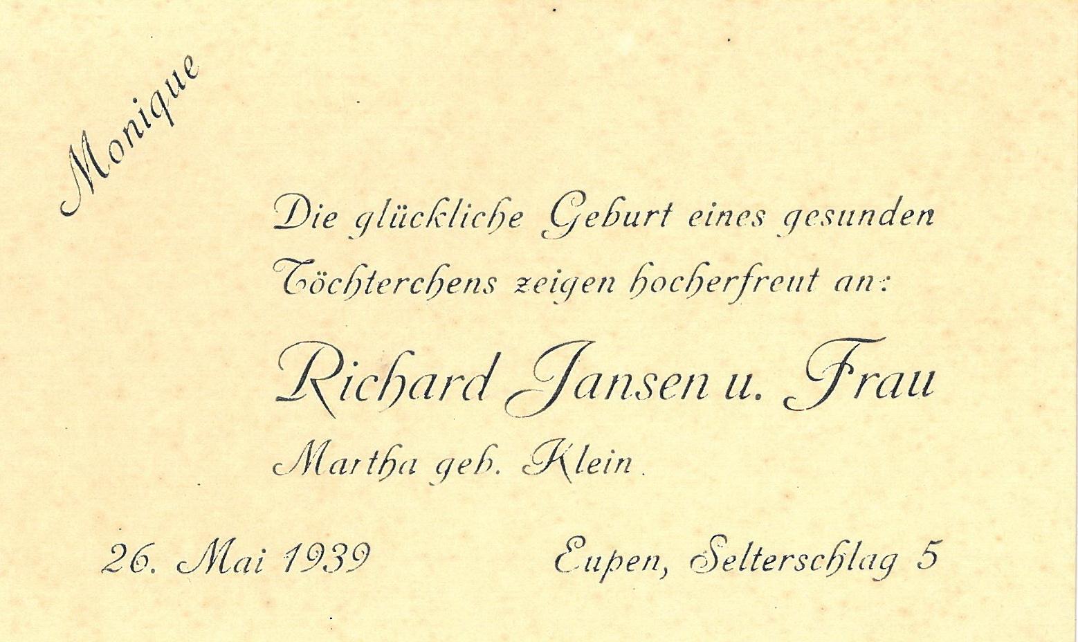 Geburtsanzeige Monique 1939