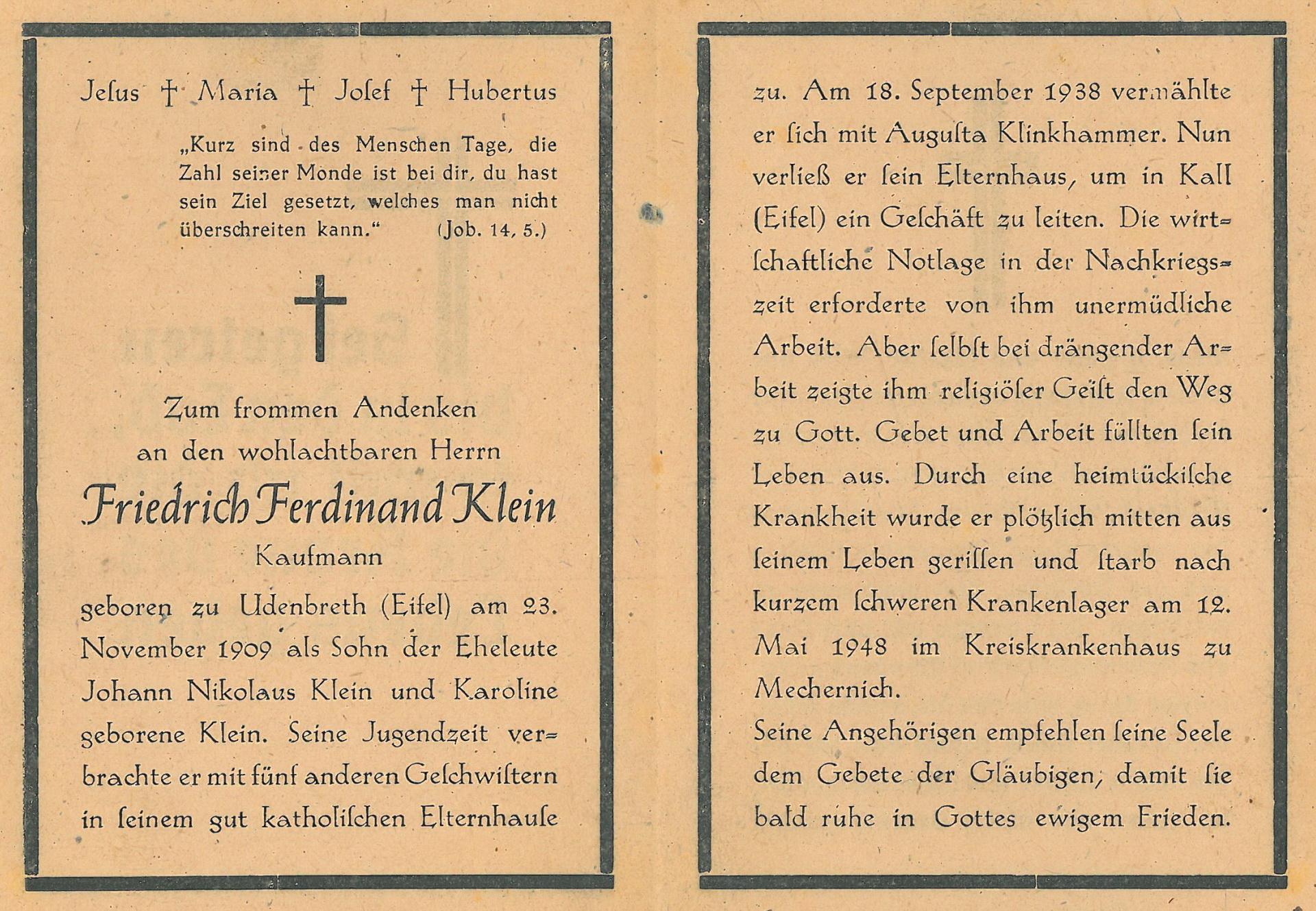 Friedrich Klein, verstorben 1947