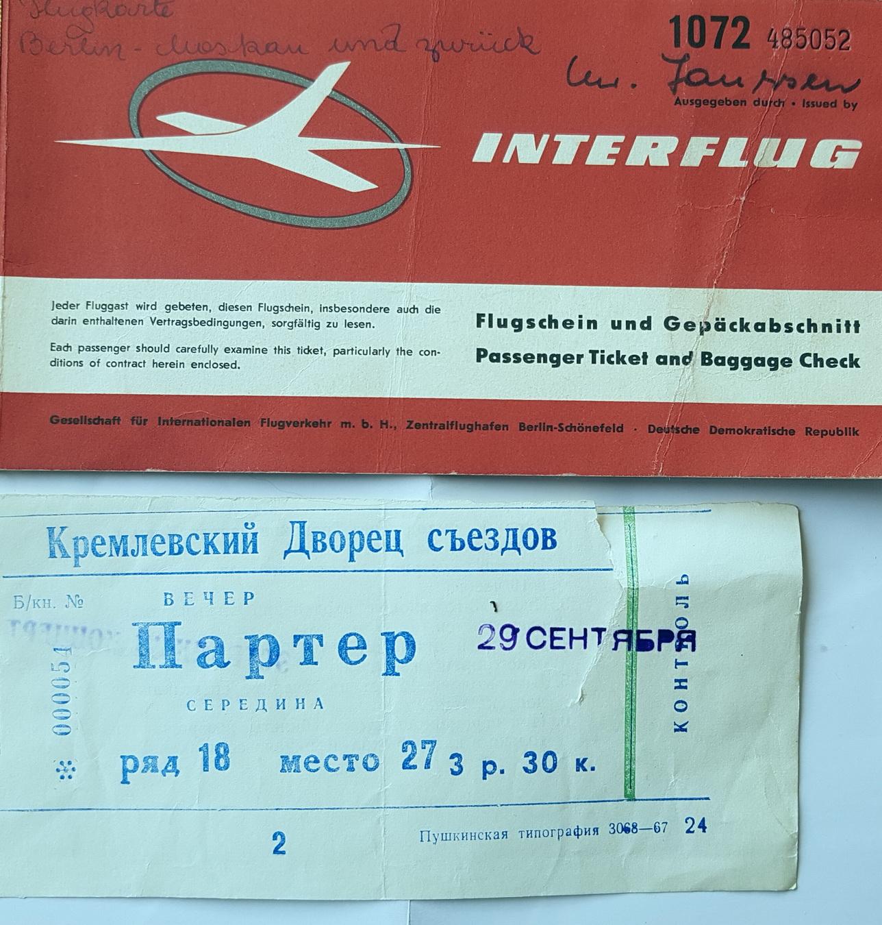 Interflug Ticket nach Moskau